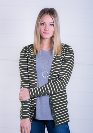 French Terry Green Stripe Snap Cardigan