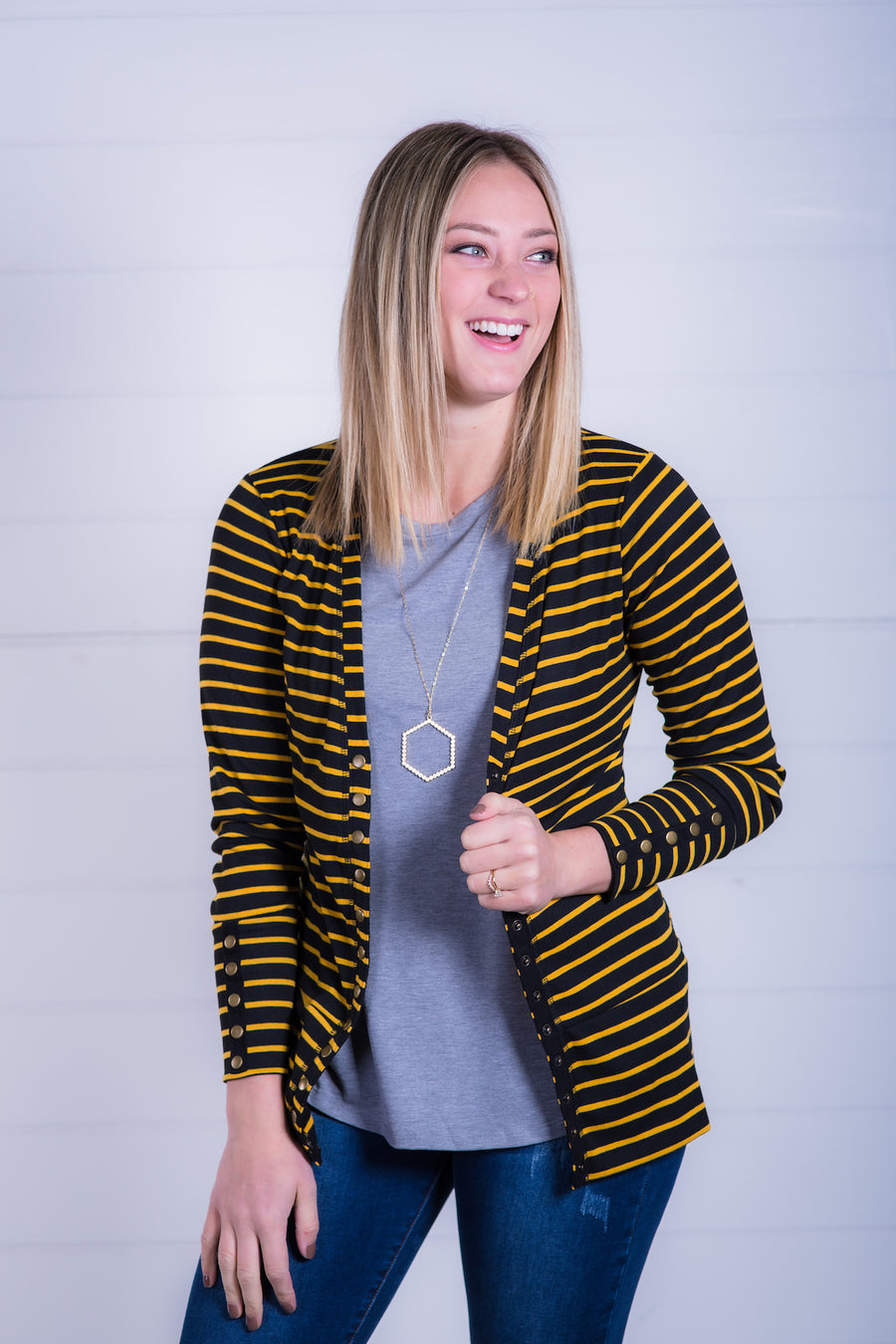 Black & Gold Snap Cardigan