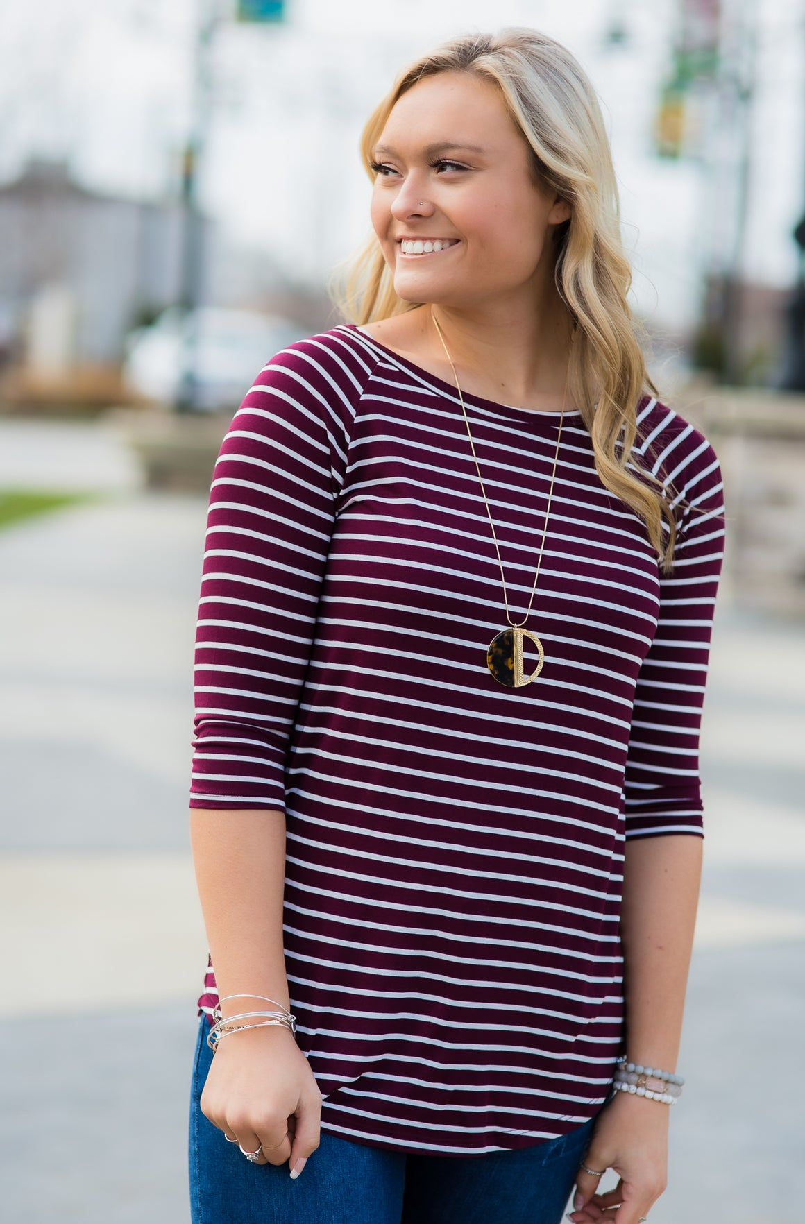 Striped Raglan: Wine/White