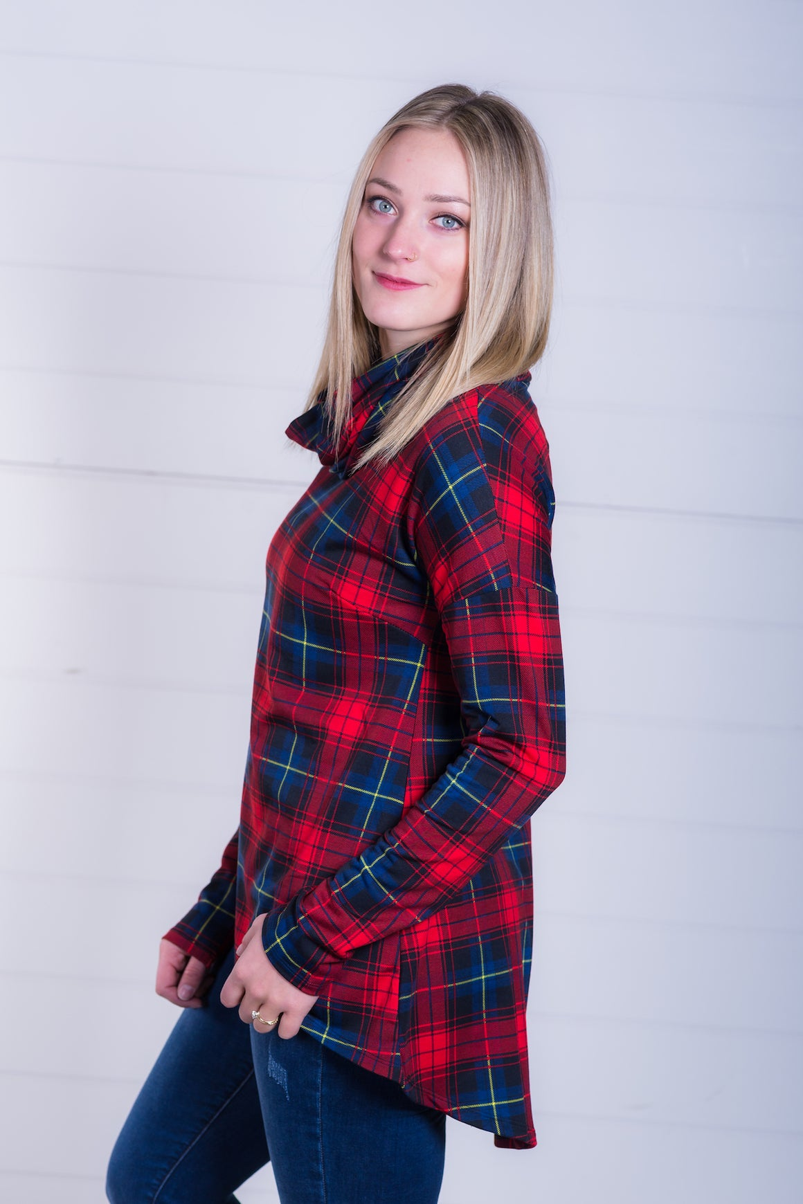 Red Plaid French Terry Funnel Neck