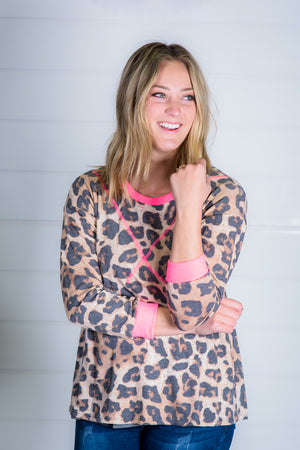 Leopard Print Top with Neon Pink Contrast