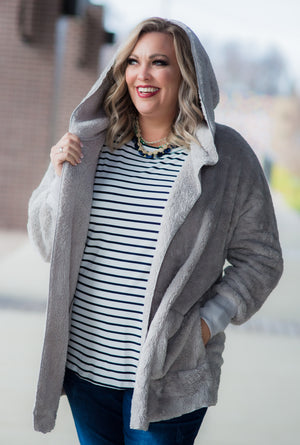 Gray Furry Open Jacket