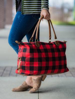 Red & Black Buffalo Plaid Weekender Tote