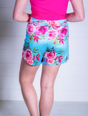Knit lounge shorts aqua floral