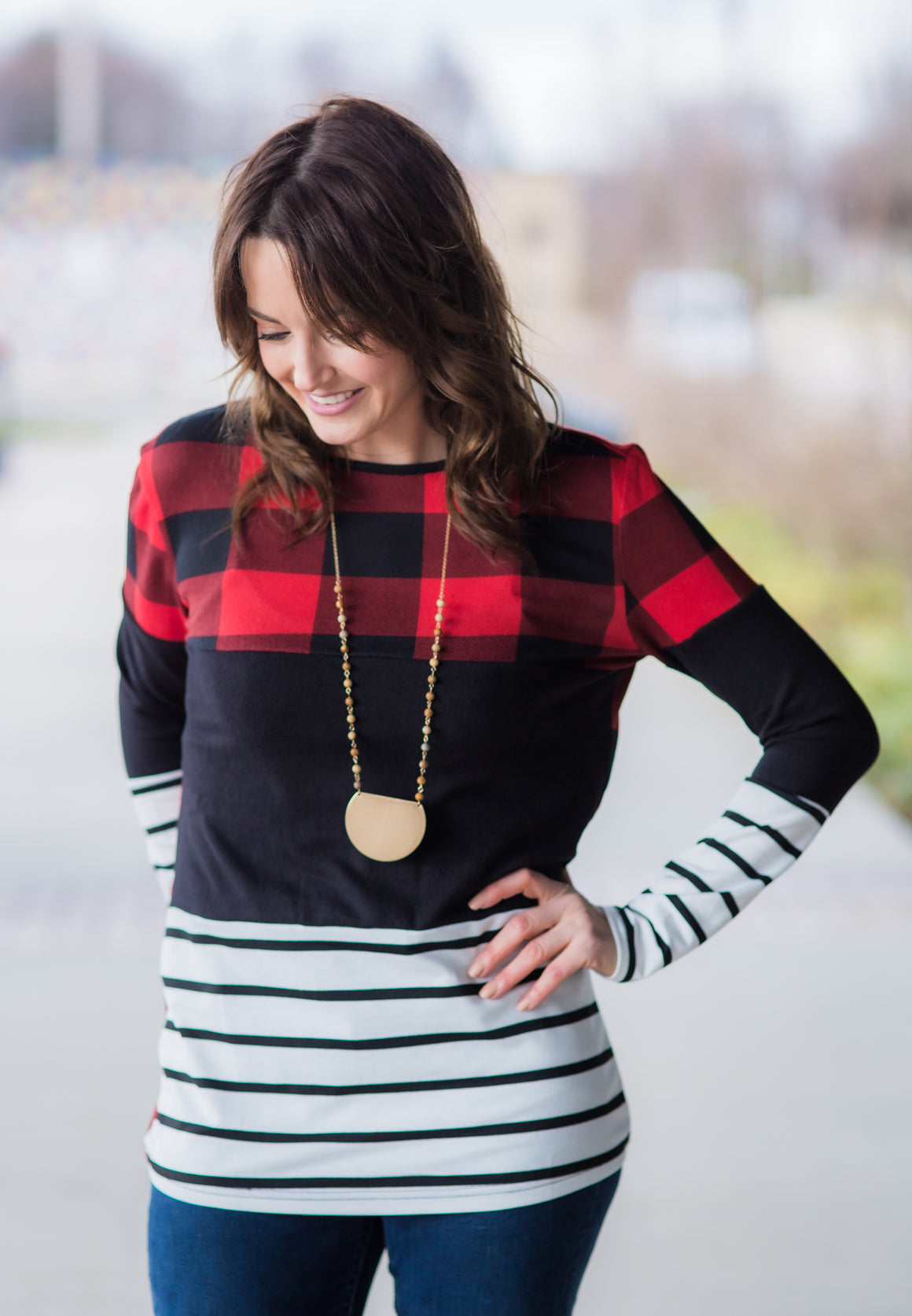 Red Plaid Color Block Long Sleeve