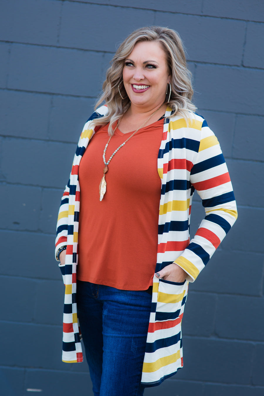 French Terry Mustard Stripe Cardigan