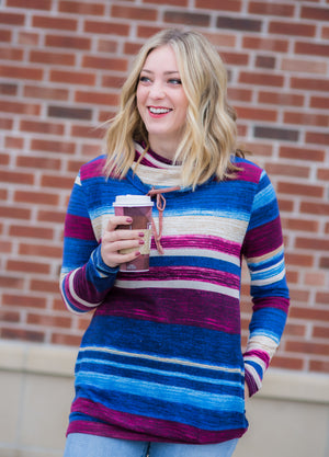 Striped Cowl Neck