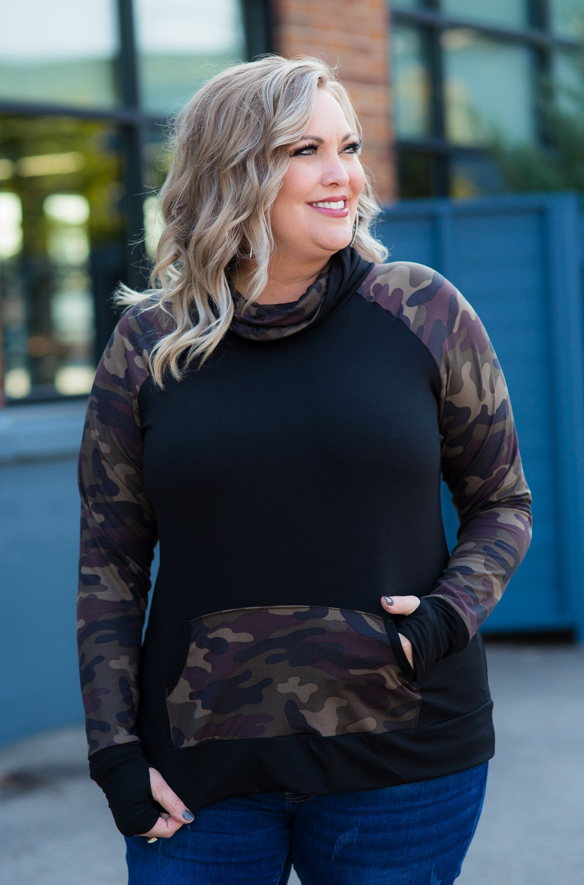 Black and Camo Funnel Neck