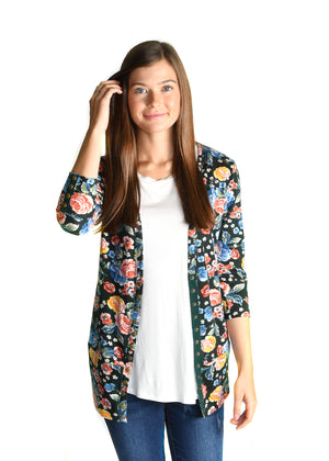 3/4 Sleeve Floral Snap - Warehouse Apparel