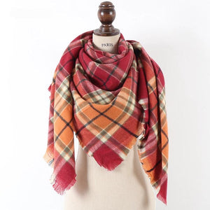 Red/Orange Plaid Blanket Scarf