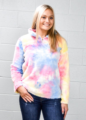 3/4 Sleeve Tie Dye Pocket Tunic Dress - Warehouse Apparel