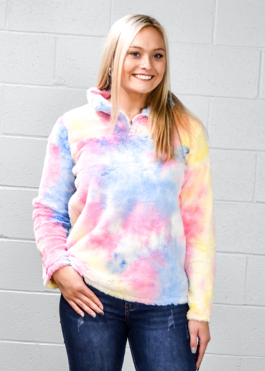 3/4 Sleeve Tie Dye Pocket Tunic Dress