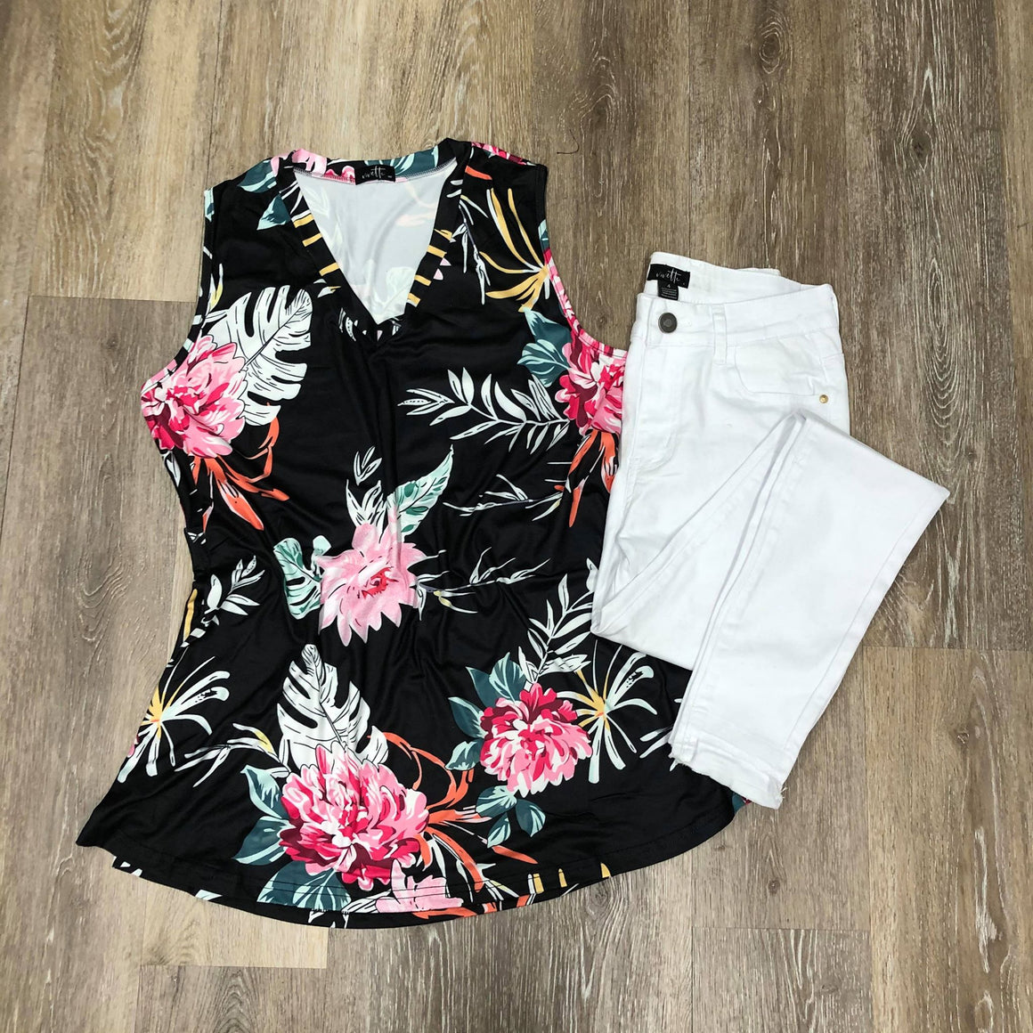Black Floral & Fuana Tank