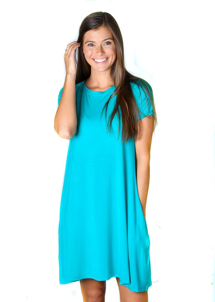 Turquoise Pocket Tunic Dress - Warehouse Apparel