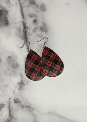 Plaid Faux Leather Earring