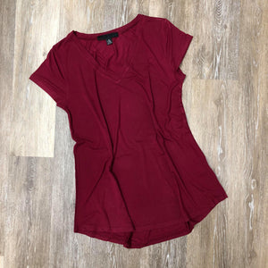 Wine Short Sleeve V-Neck Tee