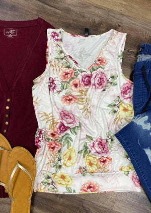 Floral Tank with Banded Bottom
