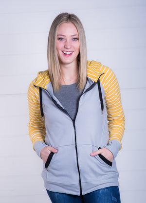 PREORDER--Cloud Fleece Hoodie - Mustard Stripe and Nimbus Gray