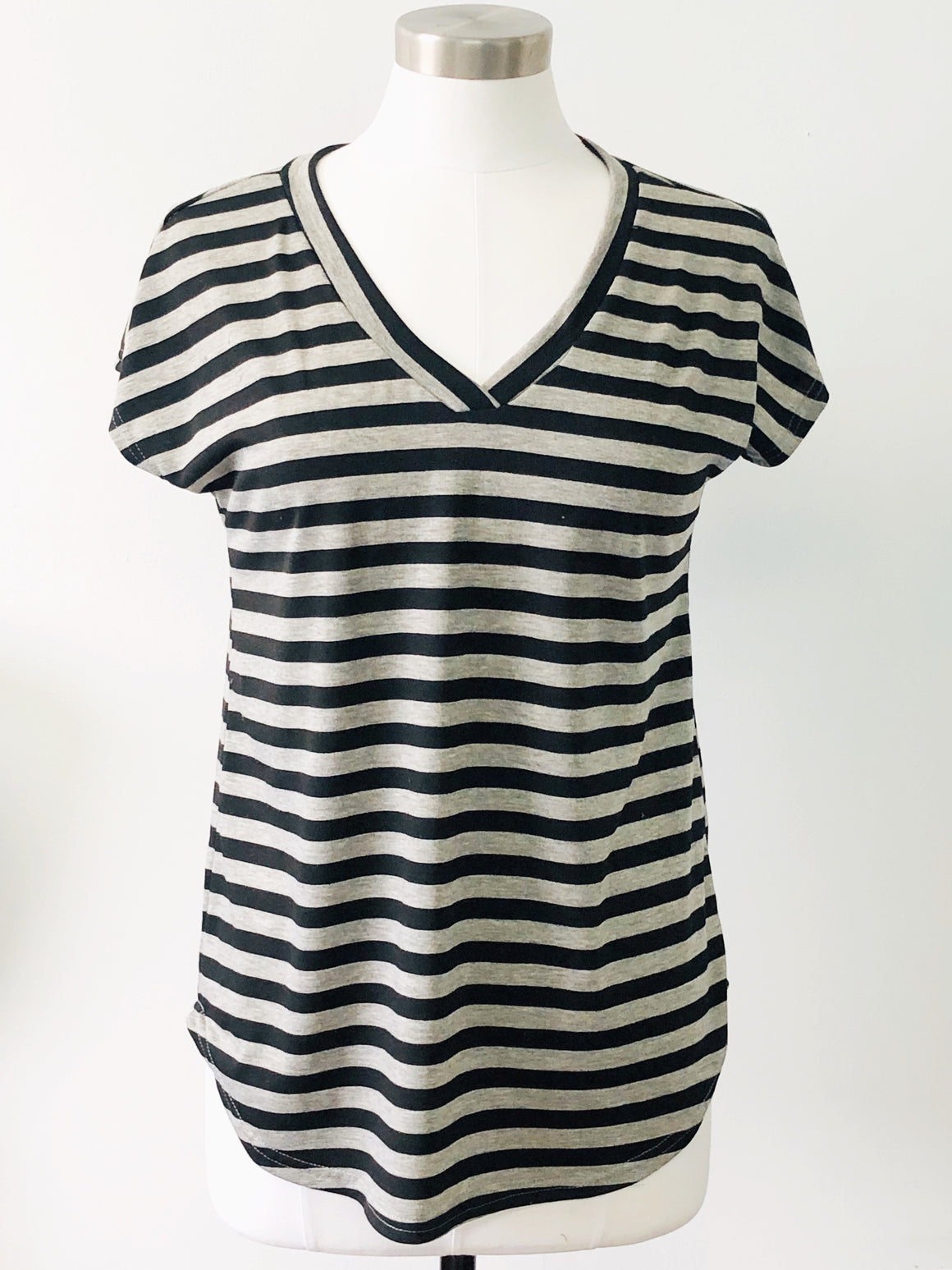 Striped Dolman V-Neck Tee - Warehouse Apparel