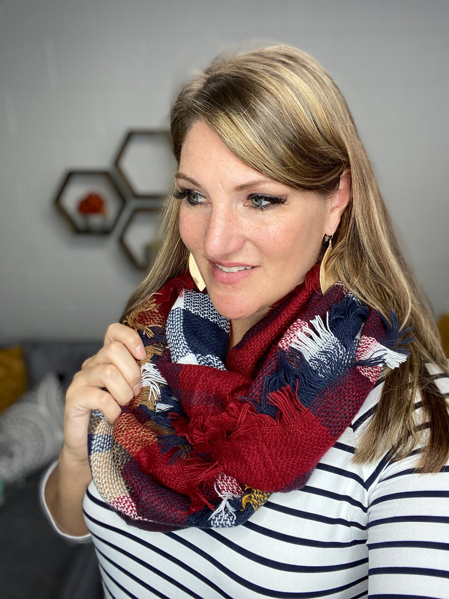 Wine and Navy Infinity Scarf