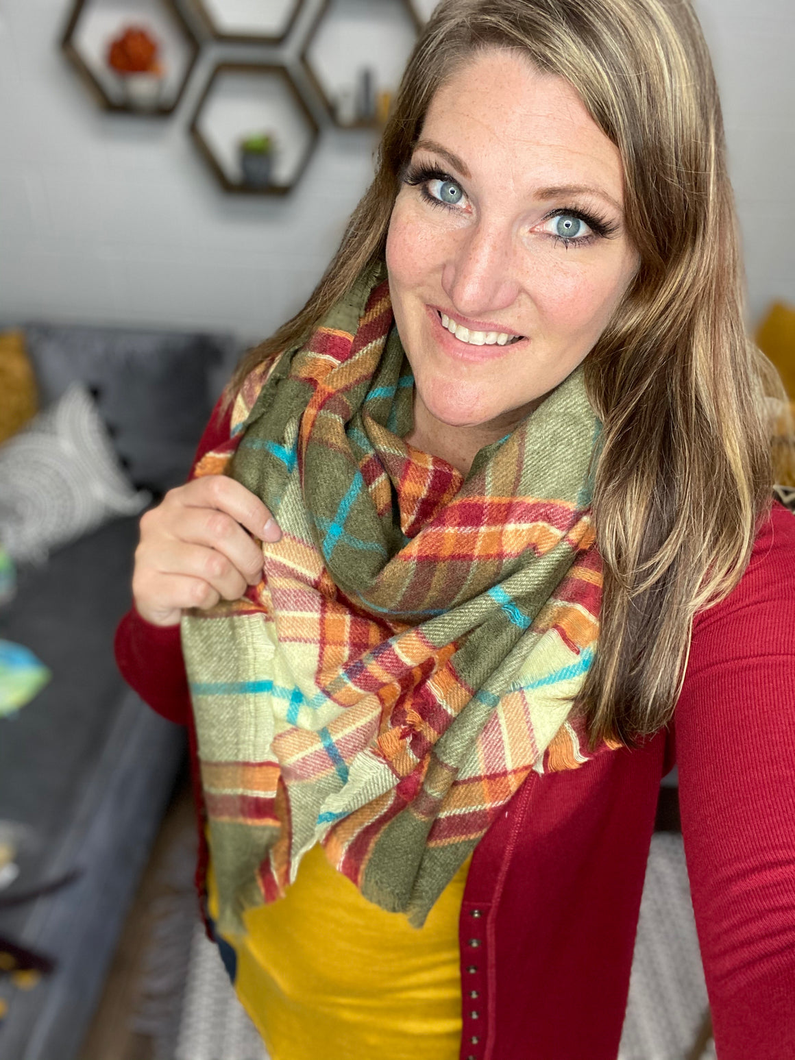 Olive Plaid Blanket Scarf