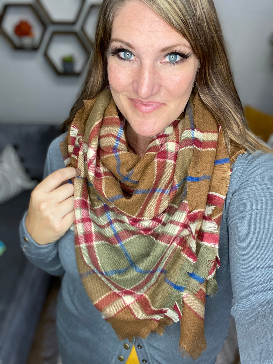 Caramel Plaid Blanket Scarf
