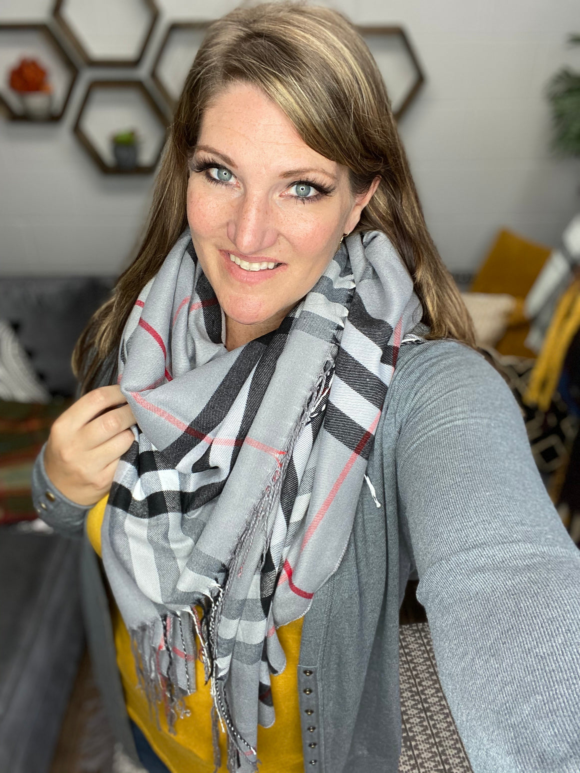 Gray Plaid Fringe Scarf