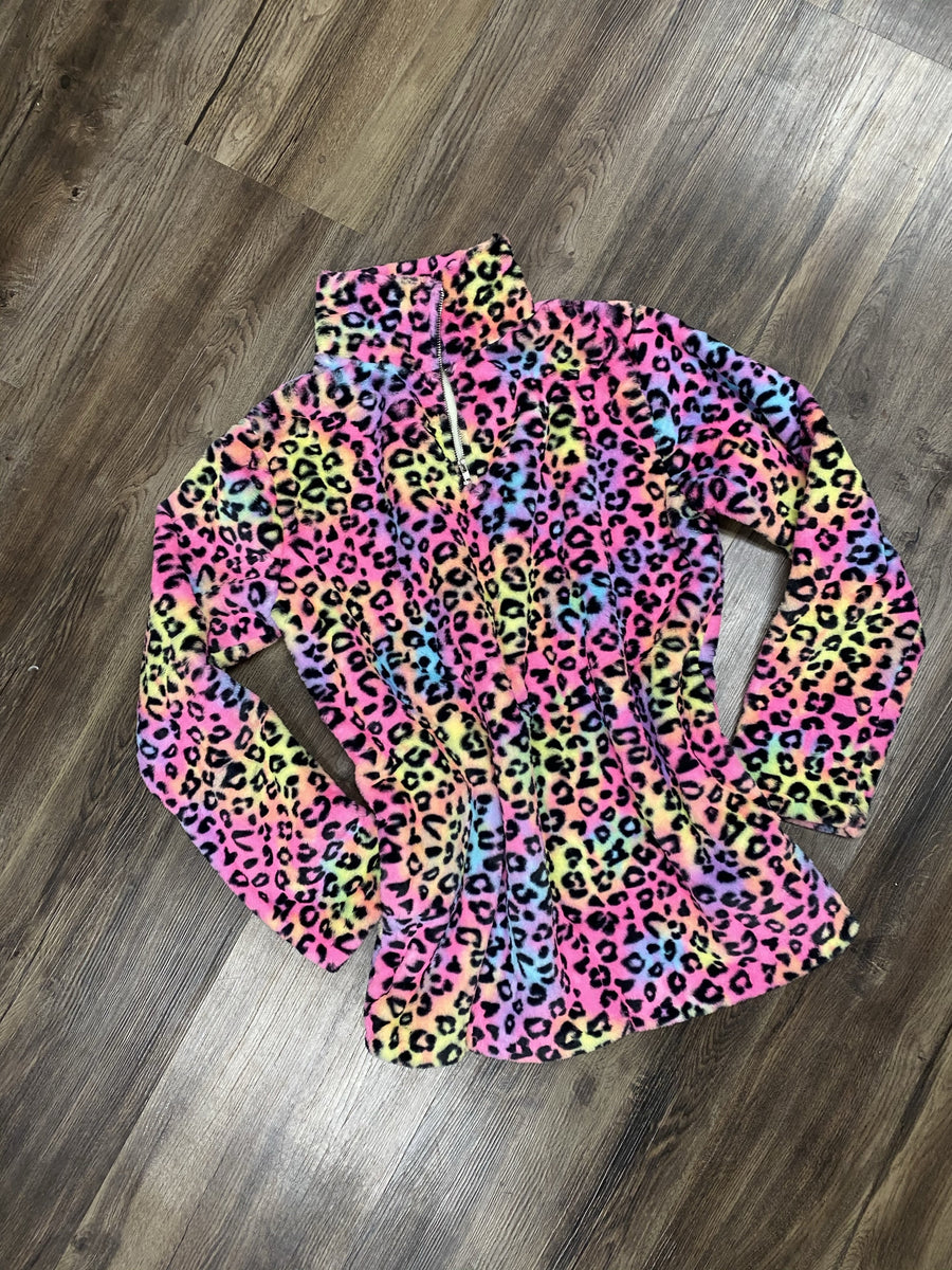 Rainbow Cheetah Fleece