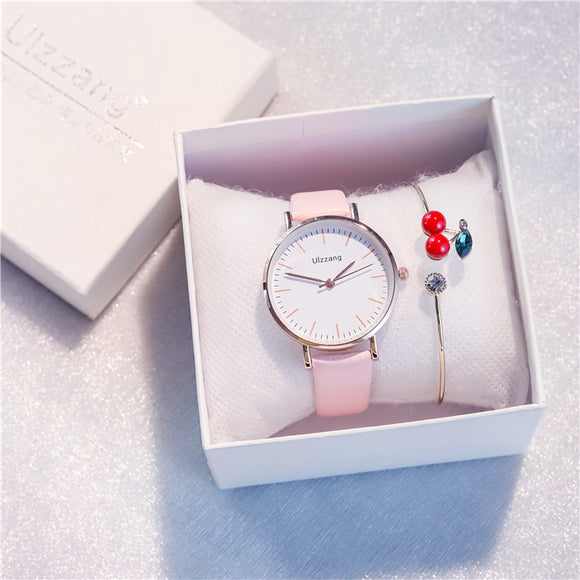 Ulzzang Cherish Women Watch with Free Cherry Bracelet