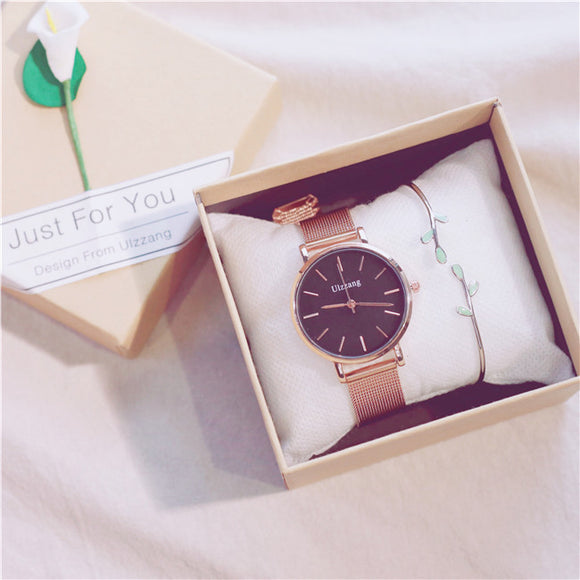 Ulzzang Classic Leisure Women Watch with Free Bracelet