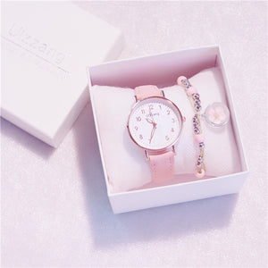 Ulzzang & Lolita Heart-Shaped Starry Sky Women Watch with Free Bracelet