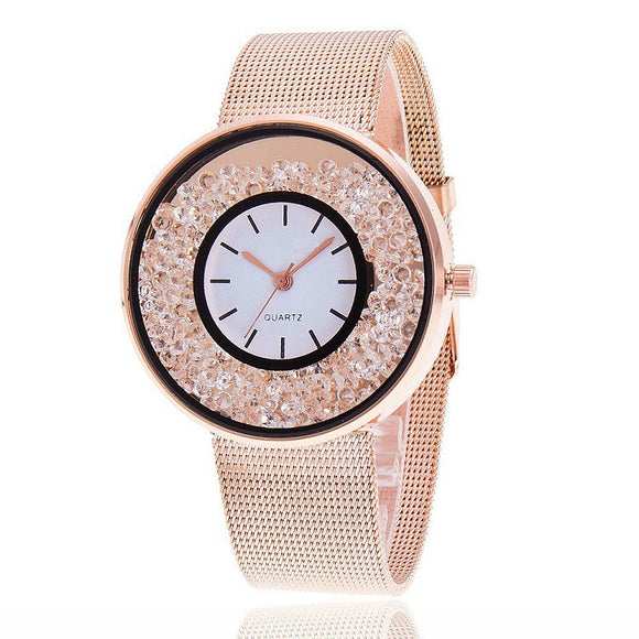 Vansvar Rose Rhinestone Quartz Women Watch