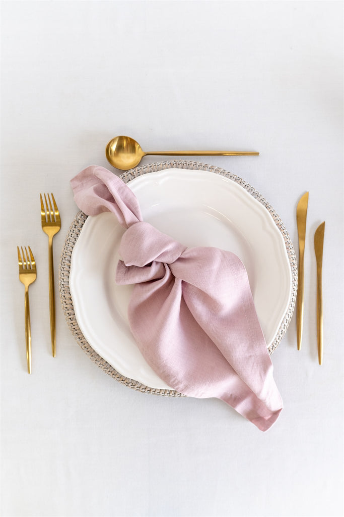 Set of 4 French Linen Napkin - Musk Pink