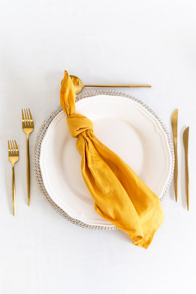 Set of 4 French Linen Napkin - Mustard