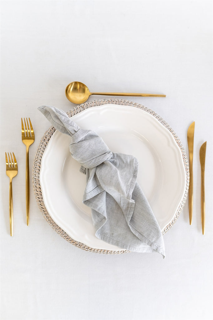 Set of 8 French Linen Napkin - Grey