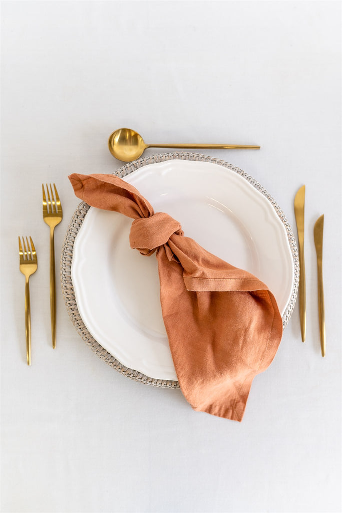 Set of 8 French Linen Napkin - Terra