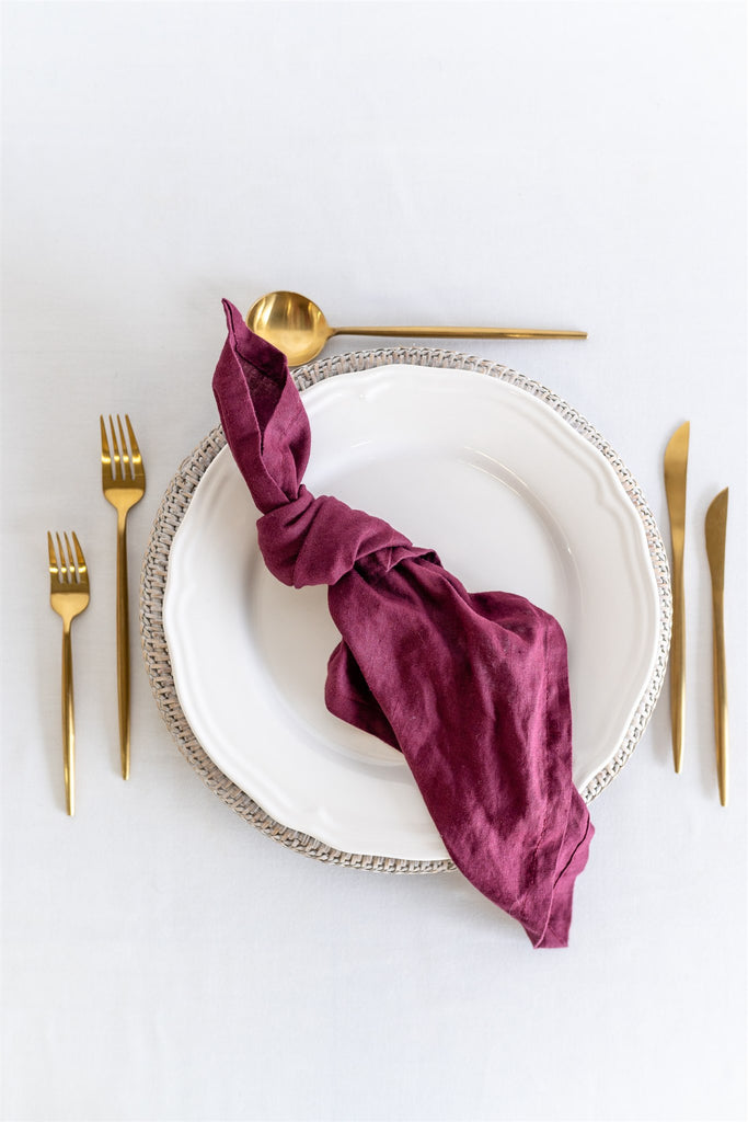 Set of 4 French Linen Napkin - Mulberry