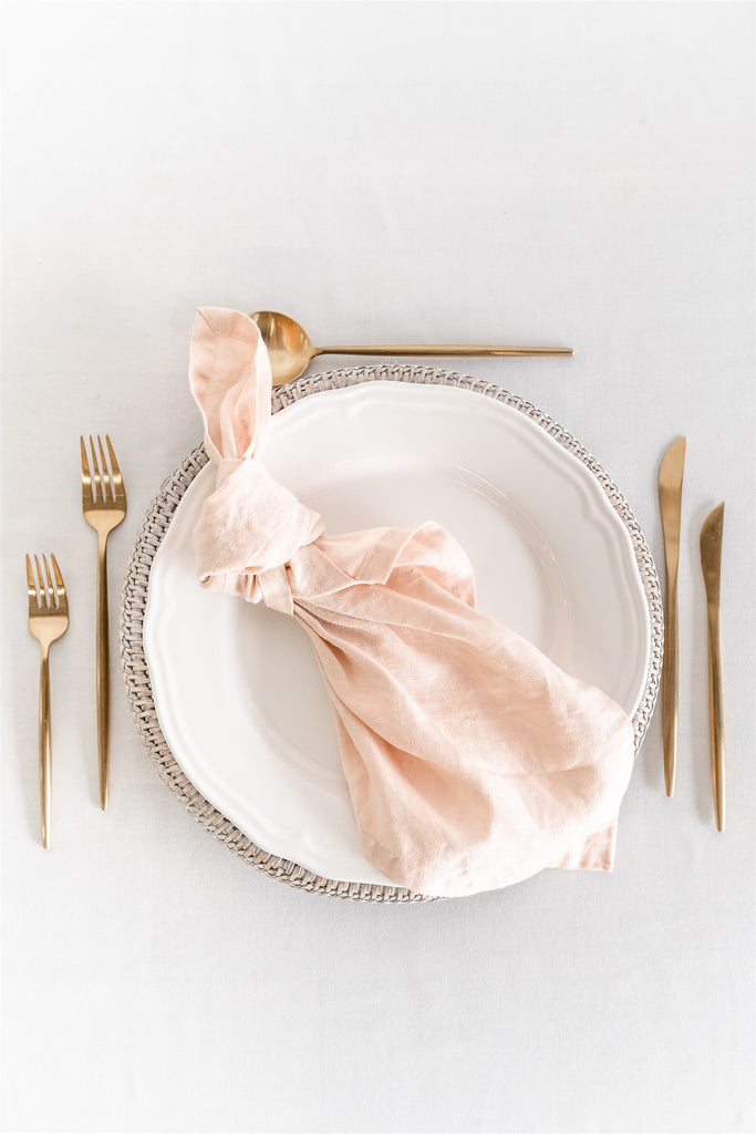 Set of 8 French Linen Napkin - Nude Blush