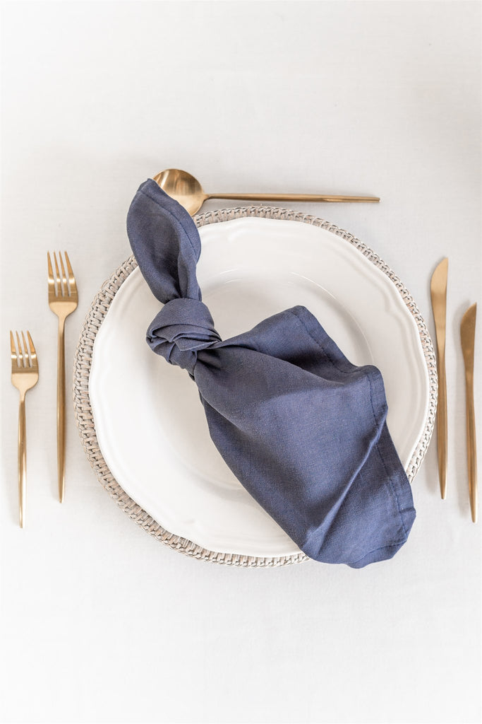 Set of 8 French Linen Napkin - Midnight Sky