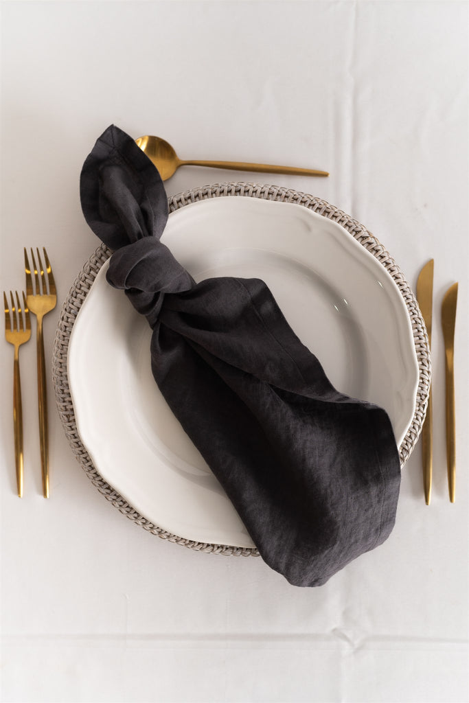 Set of 8 French Linen Napkin - Charcoal