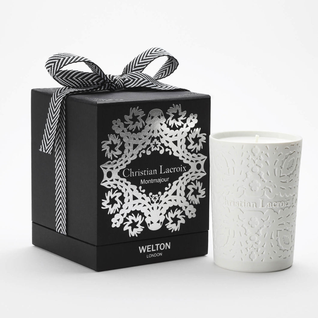 luxury scented candle montmajour christian lacroix welton london woody amber scent high quality home fragrance to match your interior limited edition capsule collection