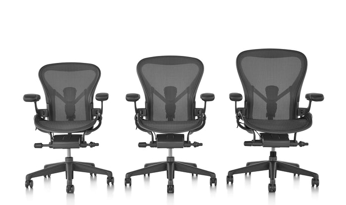 The three sizes of Aeron office chairs