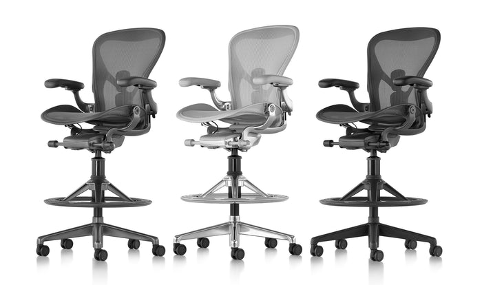 Three Aeron stools in mineral, graphite and carbon
