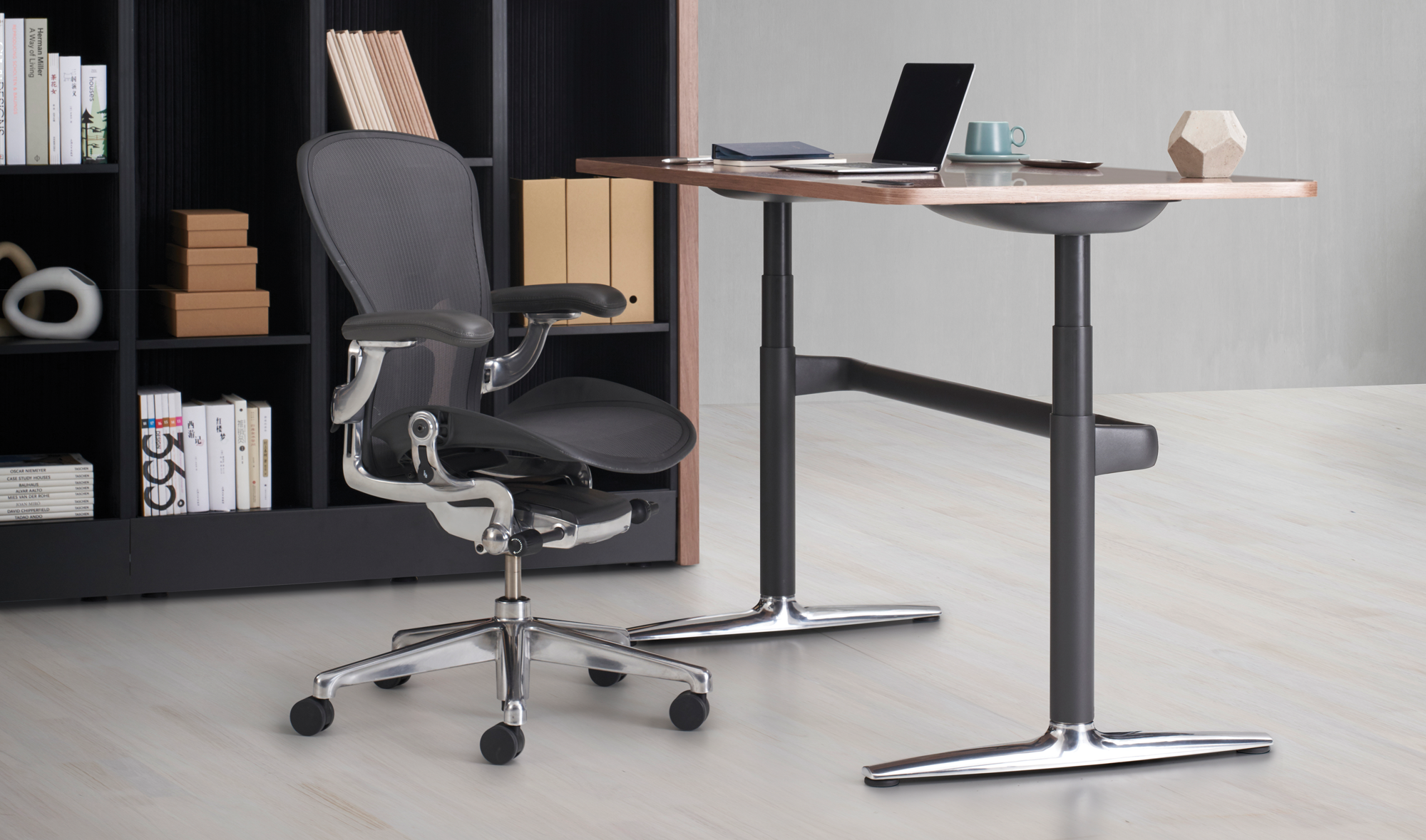 Atlas Sit Stand Desk with an Aeron Chair