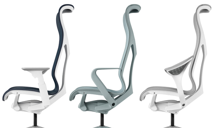 Three Cosm chairs showing the arm options available