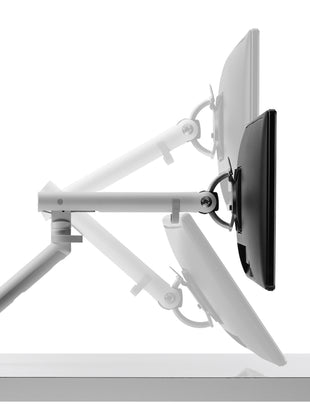 Illustration of height and tilt available on Flo monitor arm