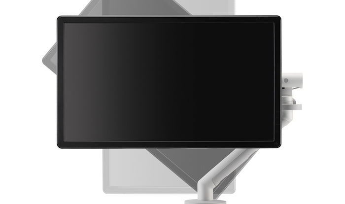 Illustration of rotation available on Flo monitor arm