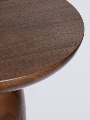 Close up of walnut Hew Side Table