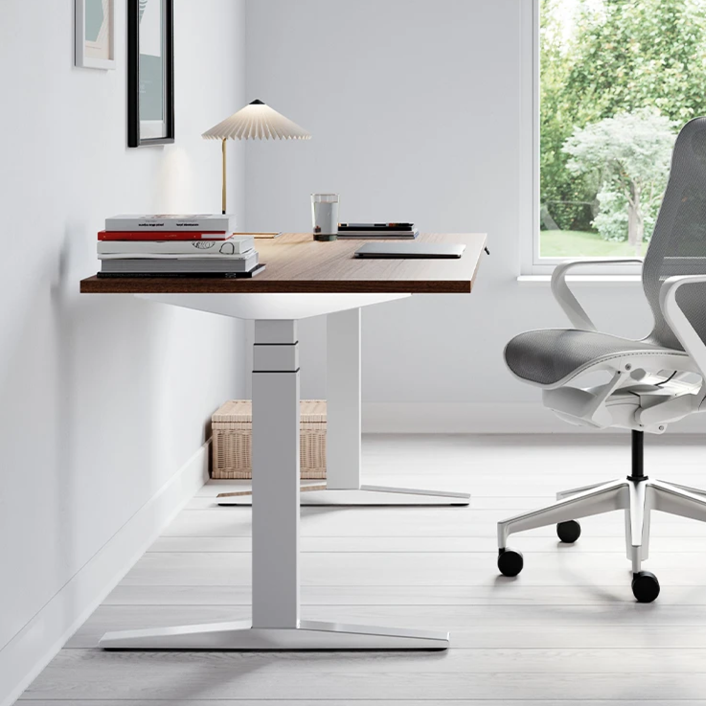 Chalk White and Walnut Ratio Desk with a Mineral Mid Back Cosm Chair in a home office environment