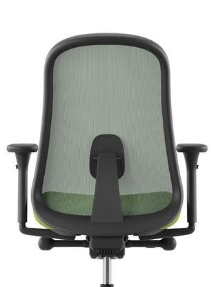Rear view of a green and black Lino chair with PostureFit